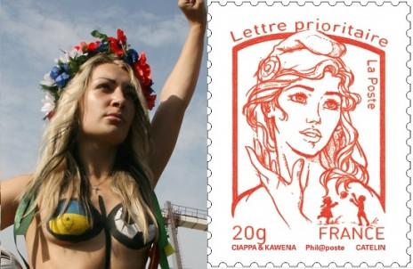 BOUTIN hostile au nouveau timbre dans pour le meilleur et pour le rire timbre-marianne-femen3